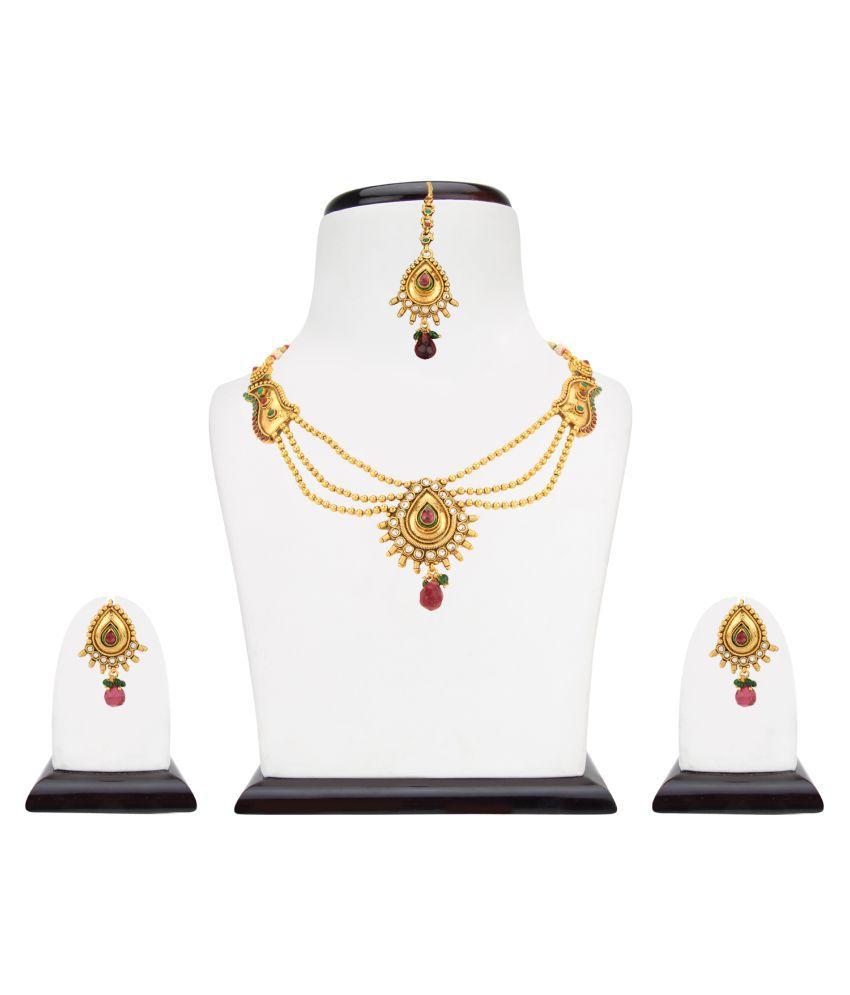 3f66250a7d Adiva Golden Copper Pearl Set Jewellery Pearl Necklaces Set Bridal  Jewellery Sets:sane0943rg - Buy Adiva Golden Copper Pearl Set Jewellery  Pearl Necklaces ...