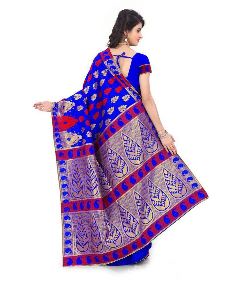 544c3b838a Pehnava Blue Banarasi Silk Saree - Buy Pehnava Blue Banarasi Silk ...