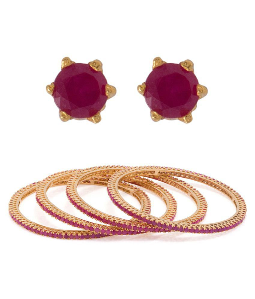 Voylla Combo Of 4 Bangles and Pair of Studs Earring
