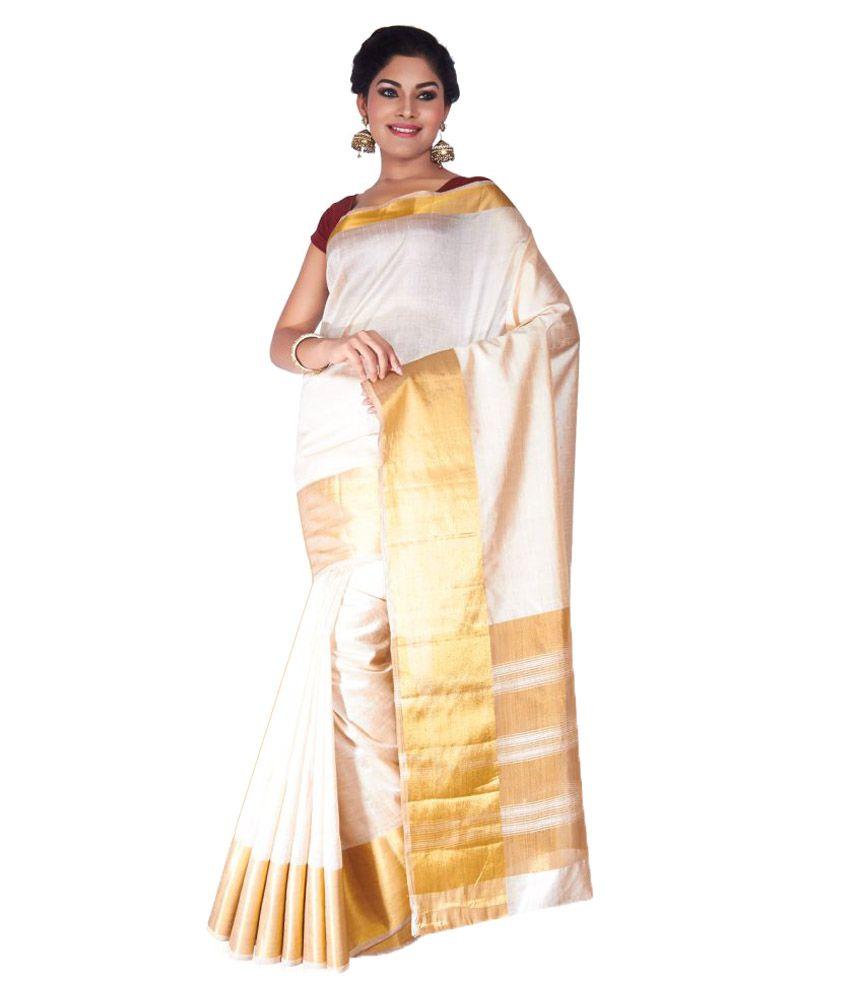 054d94ac7be Roopkala Silks and Sarees Off White Tussar Silk Saree