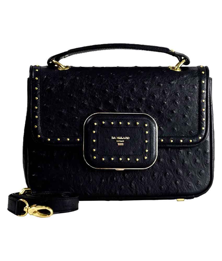 Da Milano Black Pure Leather Handheld