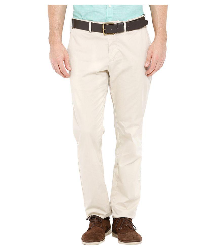 Indian Terrain Beige Slim Flat Trousers