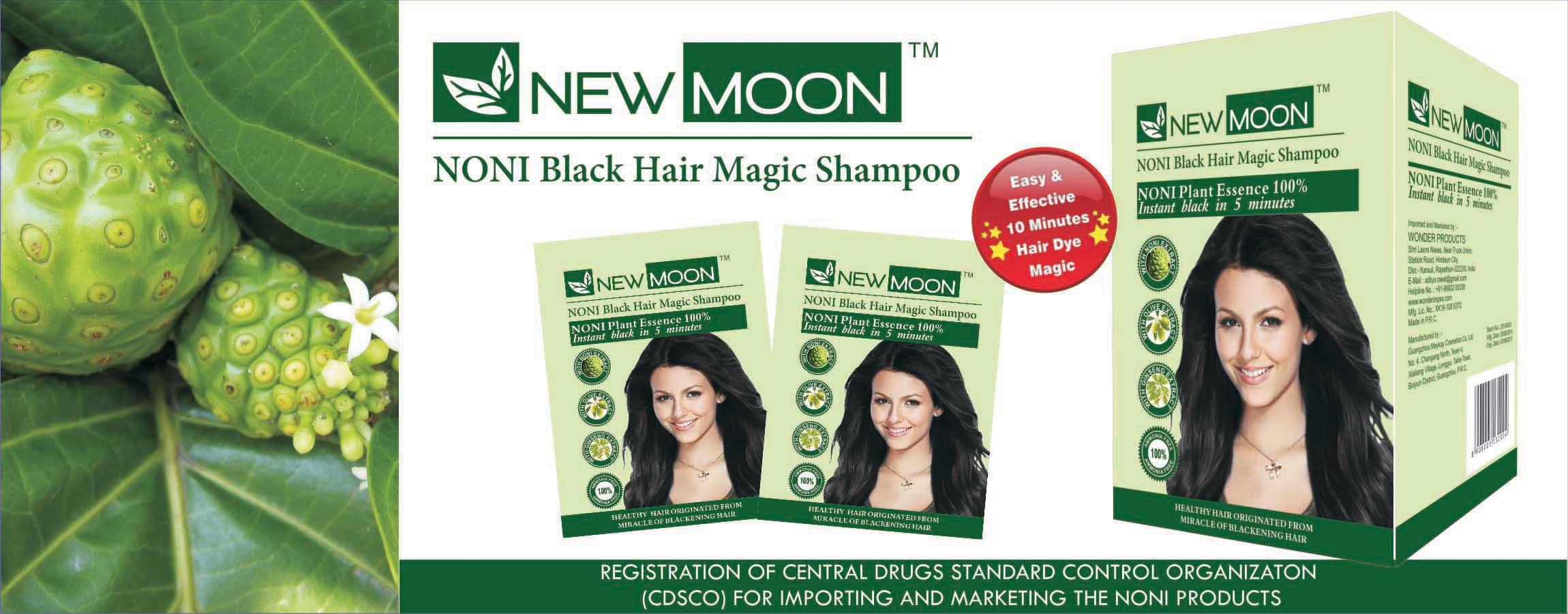 New Moon Noni hair dye shampoo for men Permanent Hair Color Black 15 ...
