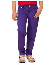 Mds Jeans Purple Cotton Polyester Jeans For Girls