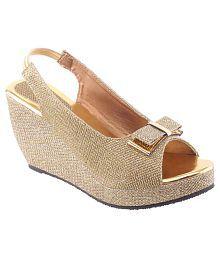 Vaniya Shoes Gold Wedges Heels