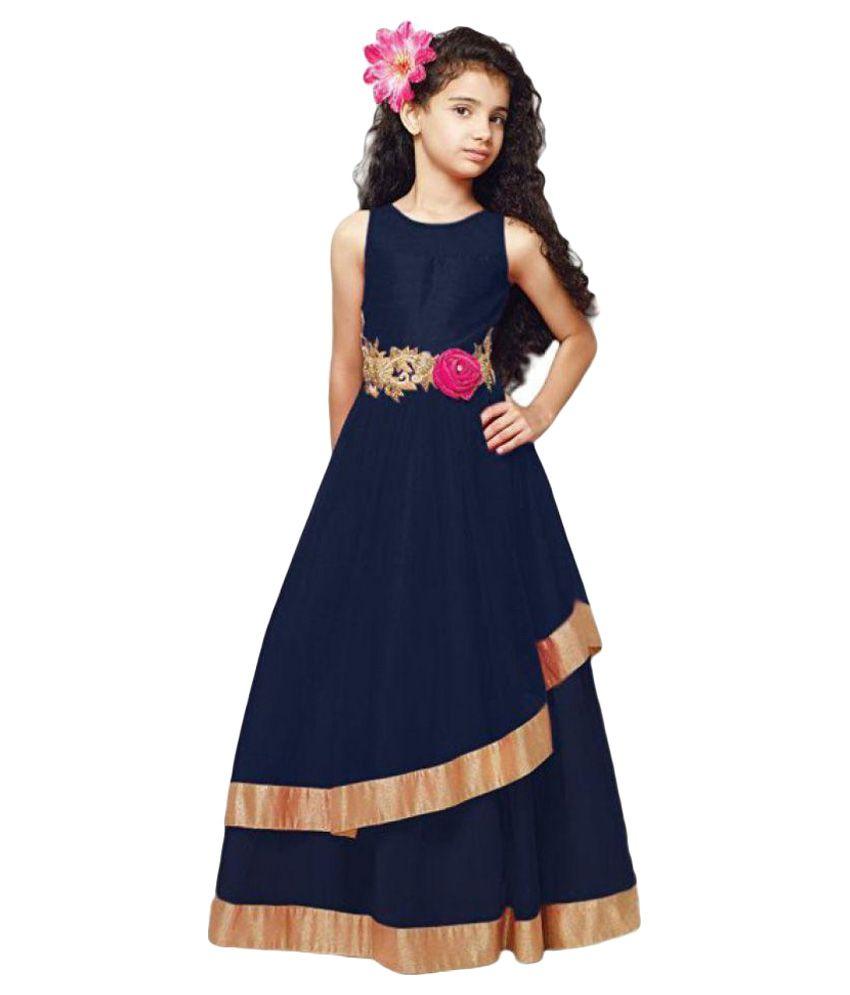 Sr Creation Dark Blue Designer Party Wear Gown For Girls Ladli