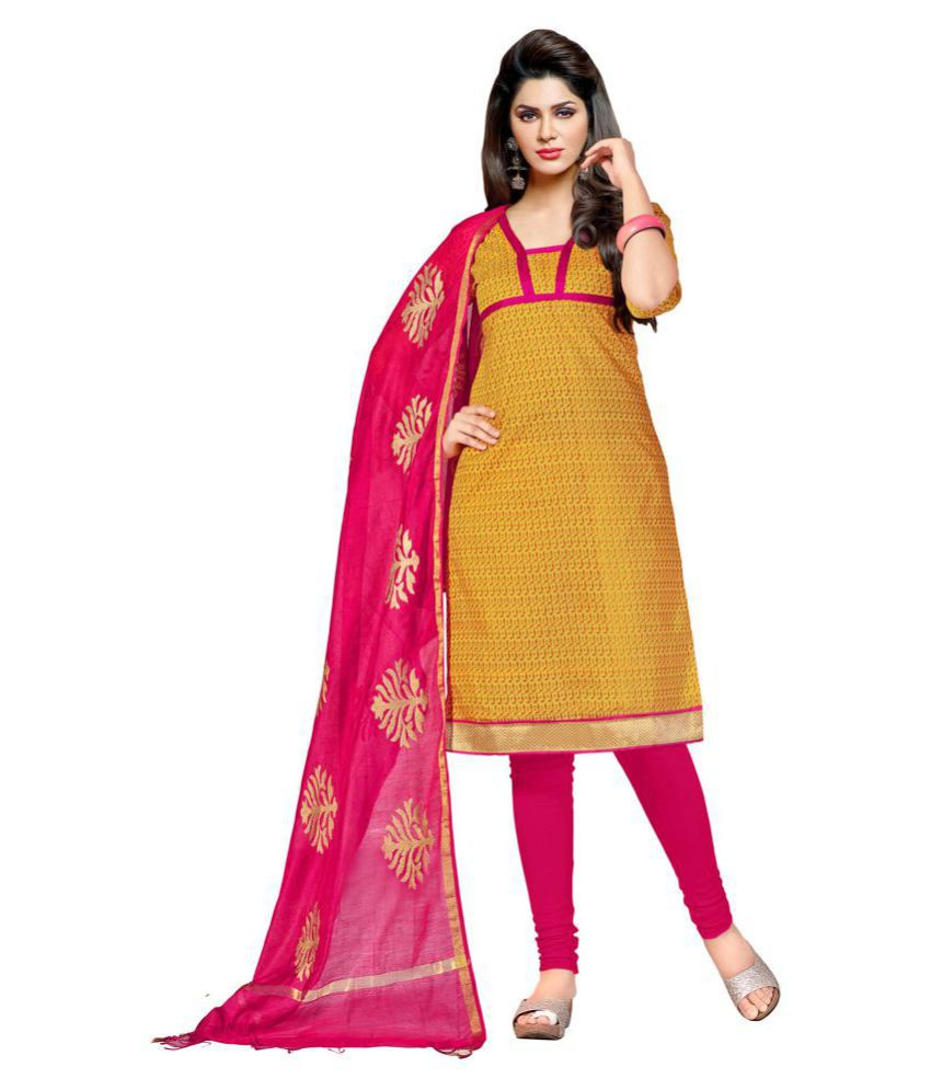 Kalish Yellow Cotton Dress Material