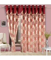 Cortina Single Door Eyelet Curtains Floral Maroon