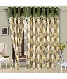 Cortina Single Door Eyelet Curtains Floral Green