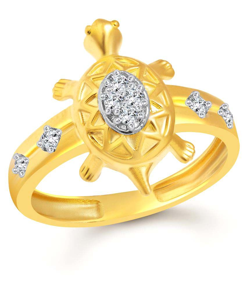 Vighnaharta Golden Divine Turtle Gold and Rhodium Plated Ring