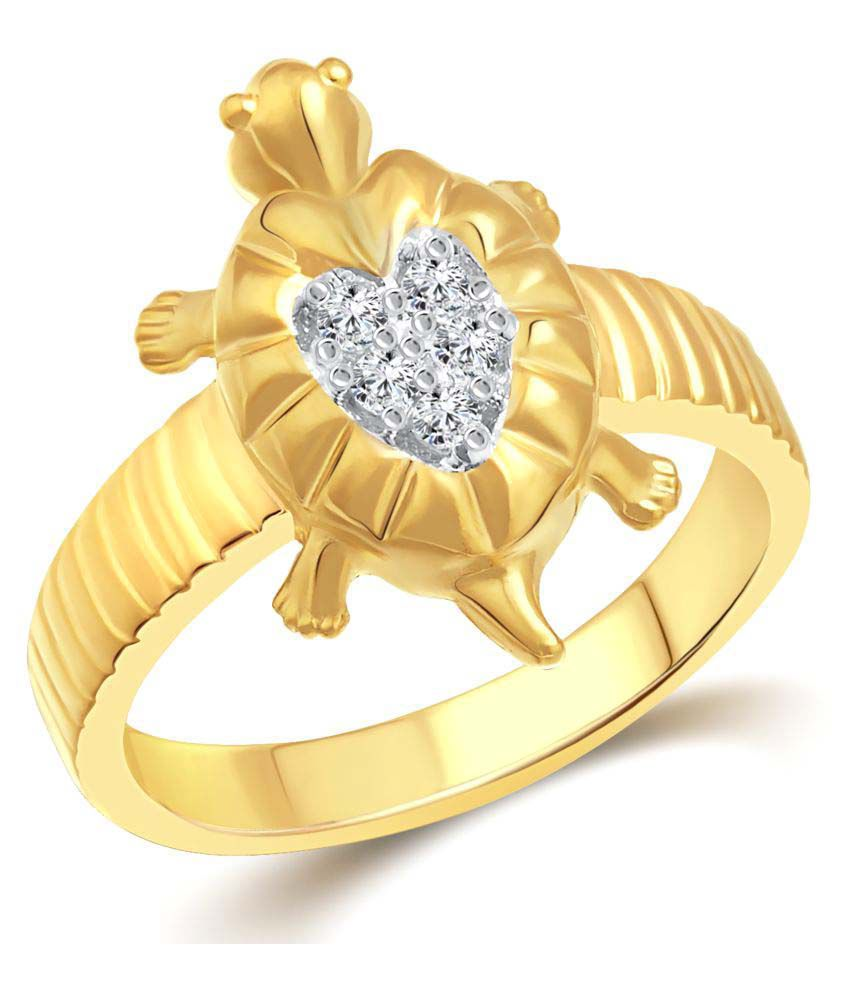 Vighnaharta Golden Glamour Turtle Gold and Rhodium Plated Ring