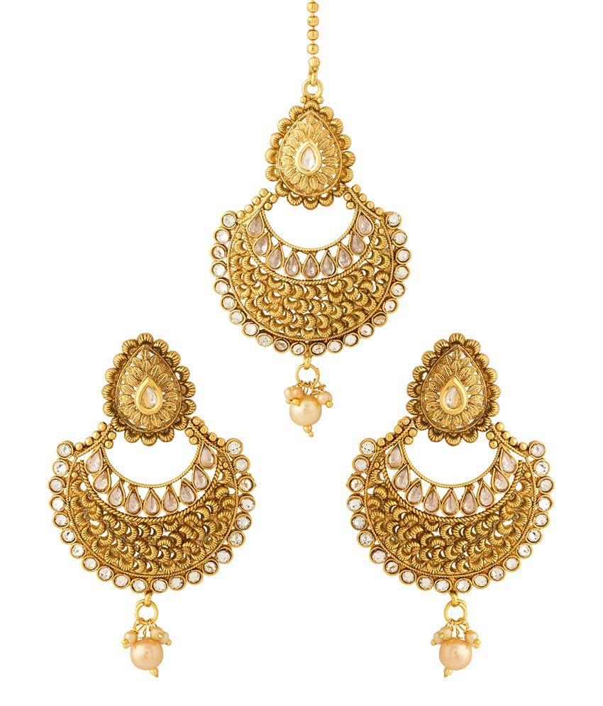 Voylla Golden Hanging Earrings With Maang Tika