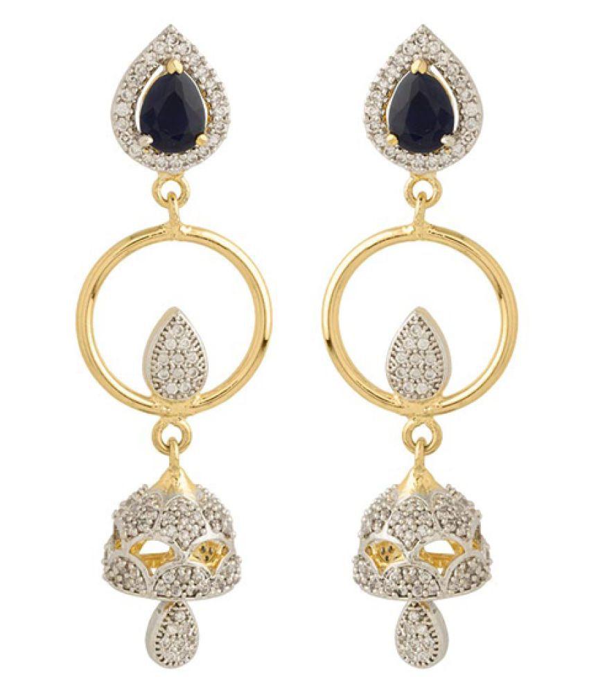 Voylla Golden Brass Hanging Earrings