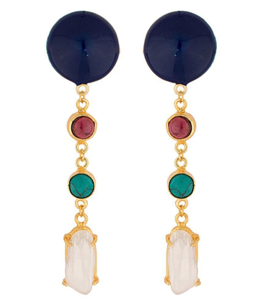 Voylla Multi Colour Alloy Drop Earrings