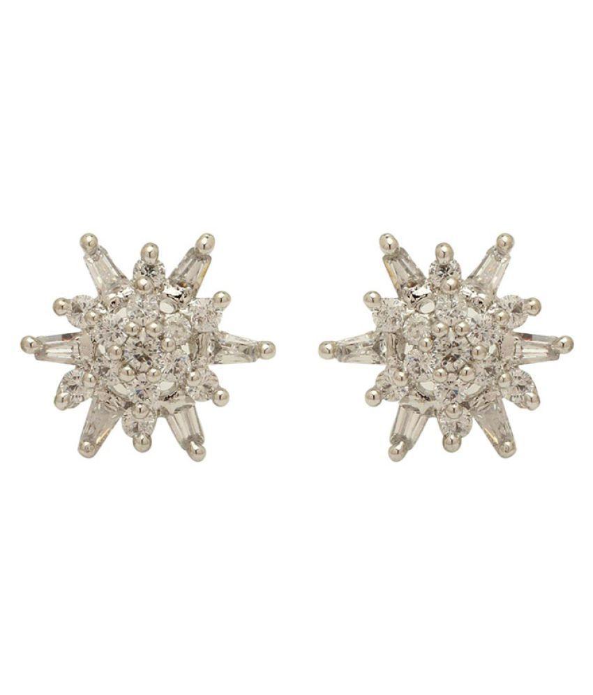 Voylla Silver Alloy Shiny Fancy Studs Earrings