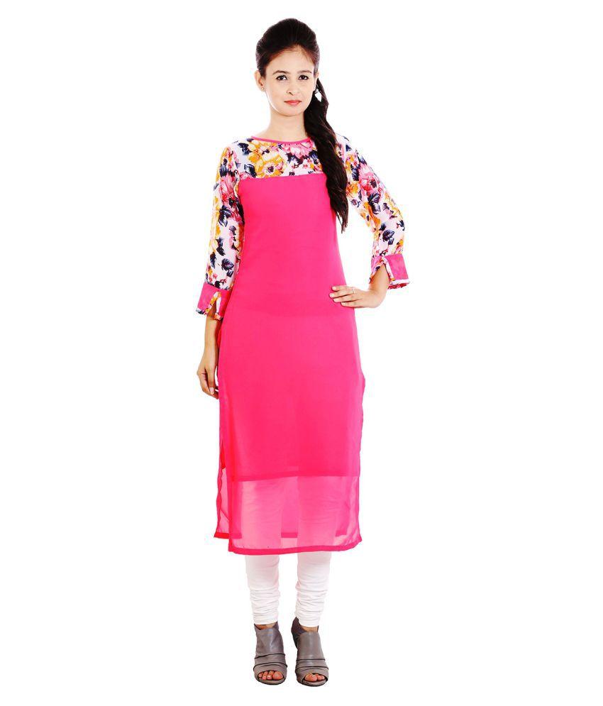 Kevin Plus Pink Georgette Straight Kurti