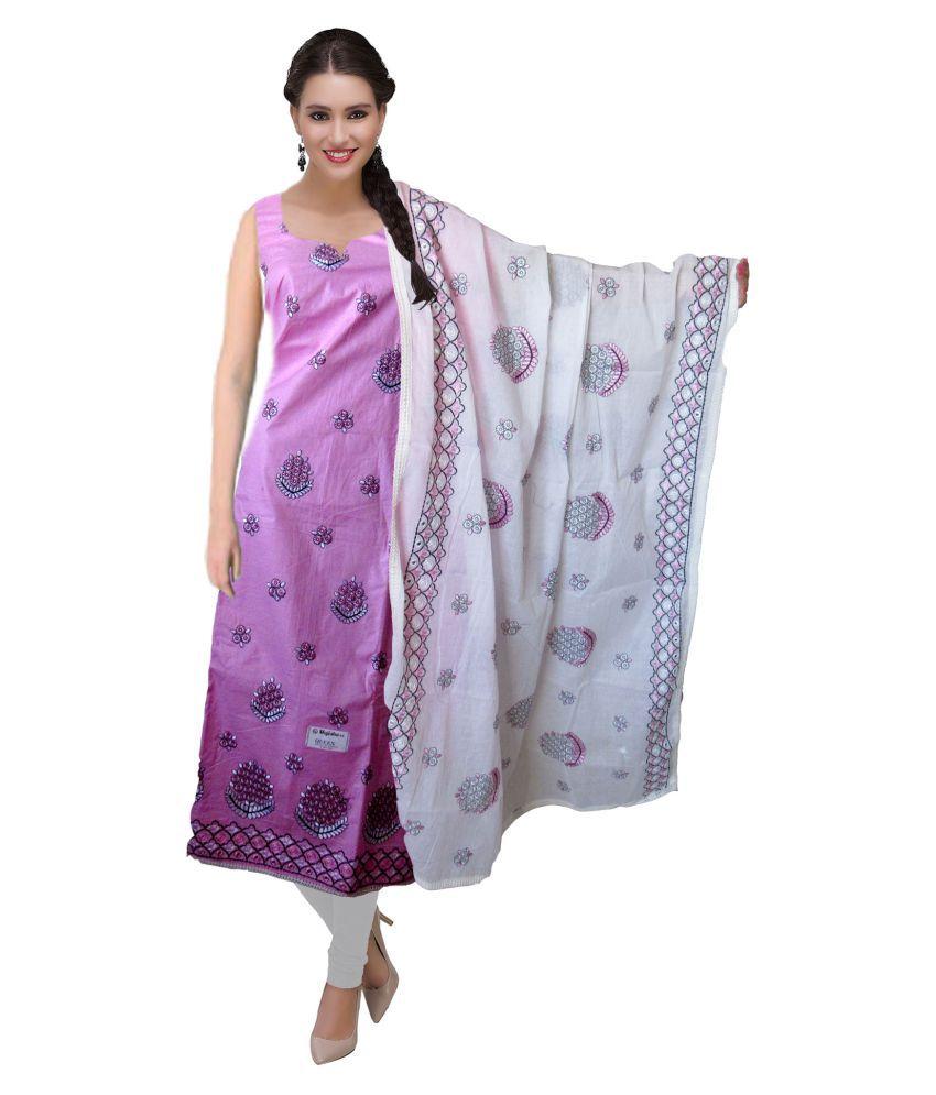 BFM Pink Brocade Dress Material