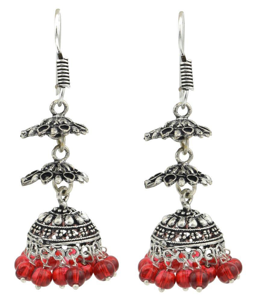 High Trendz Silver Alloy Jhumki Earrings for Women & Girls