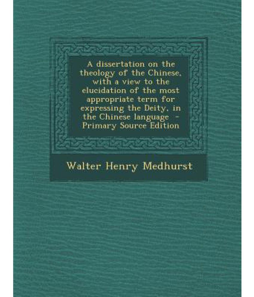 Dissertation theology chinese