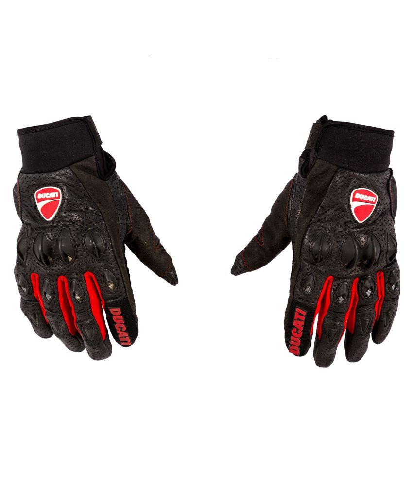 Buy leather hand gloves online india - Autofy Black Leather Riding Gloves