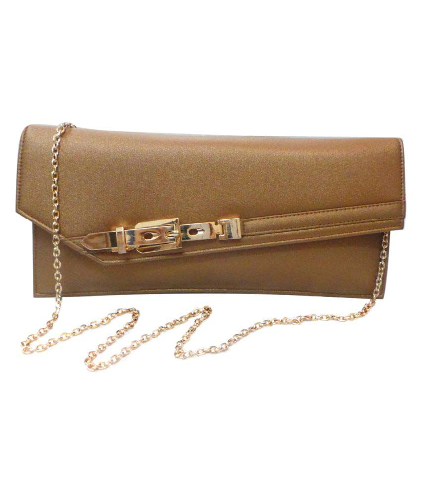 Bhamini Brown Faux Leather Clutch