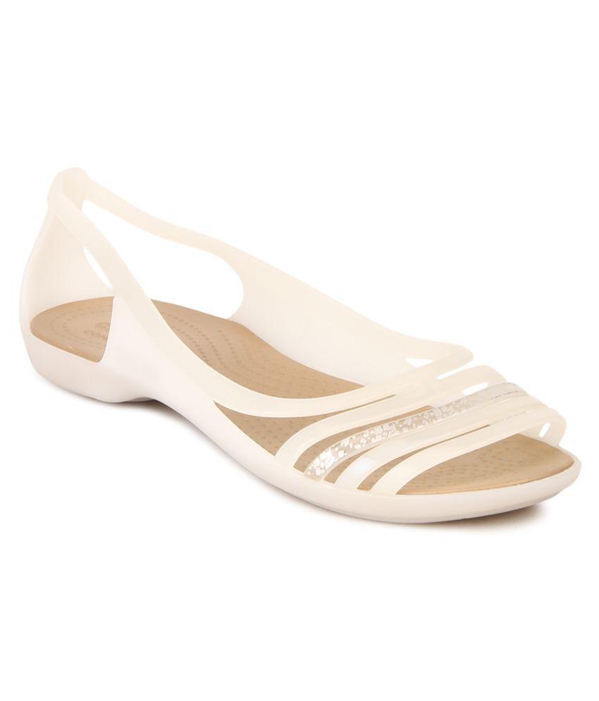 Crocs White Flat Slip-on & Sandal Relaxed Fit