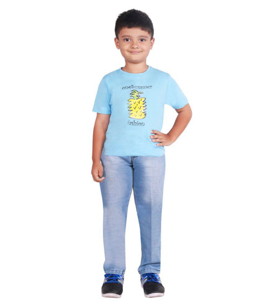 One Summer Light Blue Round Neck Cotton T Shirt For Boys