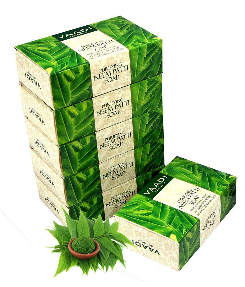 Vaadi Super Value Pack of 6 Neem Patti Soap - Contains Pure Neem Leaves (5 + 1 FREE) 75gm Each