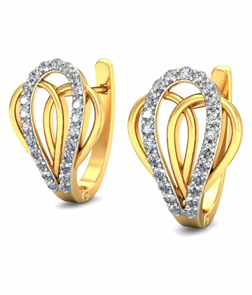 Gold24 14k Yellow Gold Diamond Huggies