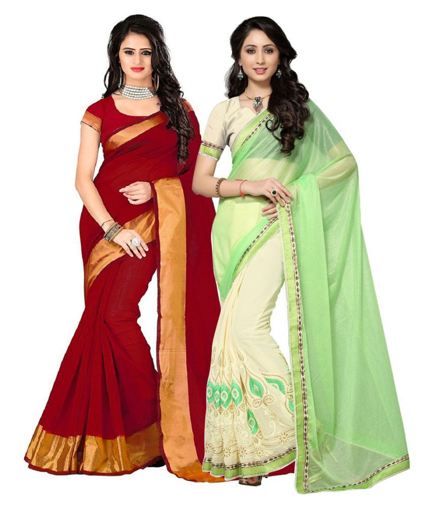 Pramukh Suppliers Multicoloured Georgette Saree Combos