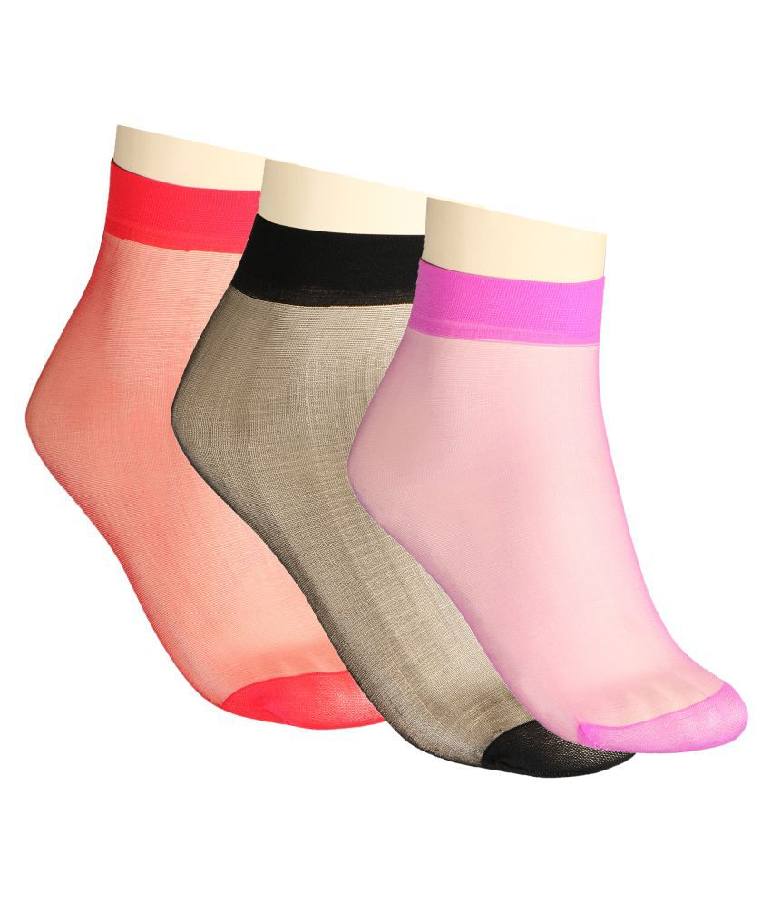 Muquam Pair of Solid Multicolor Lycra Ankle Socks - Pack of 3