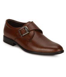 Escaro Tan Monk Strap Genuine Leather Formal Shoes