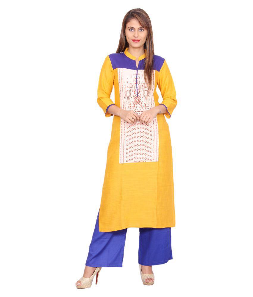 Rama Yellow Rayon Straight Stitched Suit