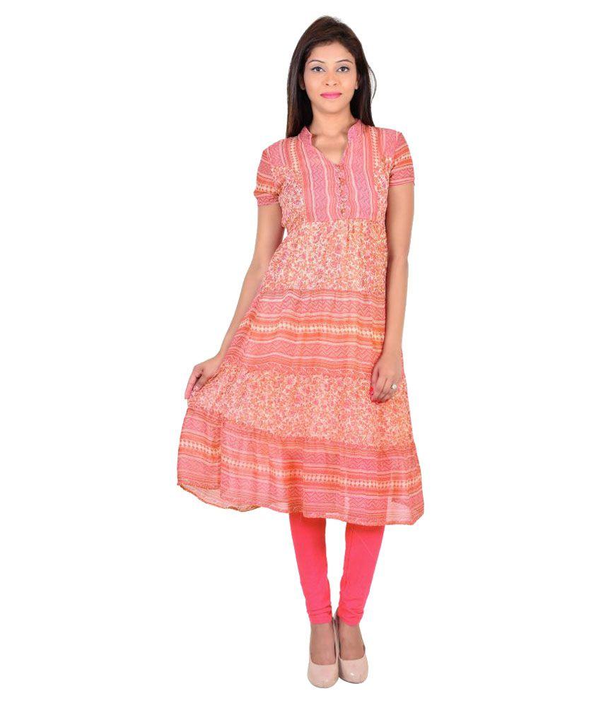 VS Fashion Multicoloured Georgette A-line Kurti