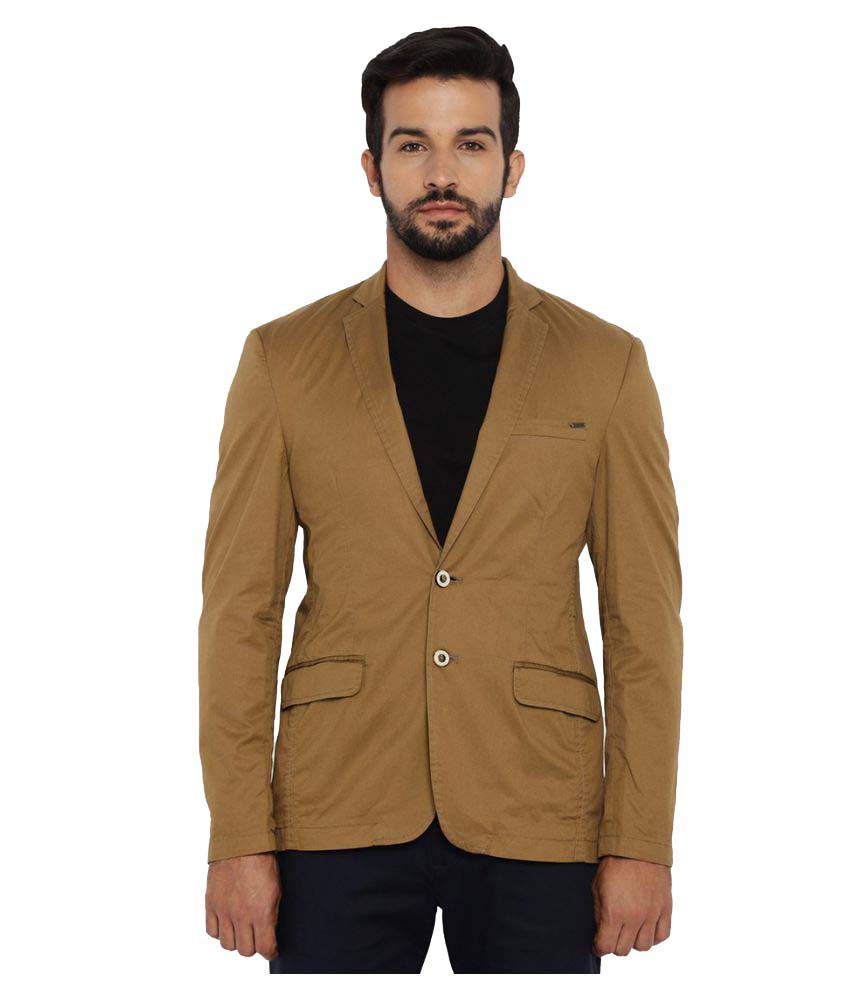 Park Avenue Brown Solid Casual Jackets