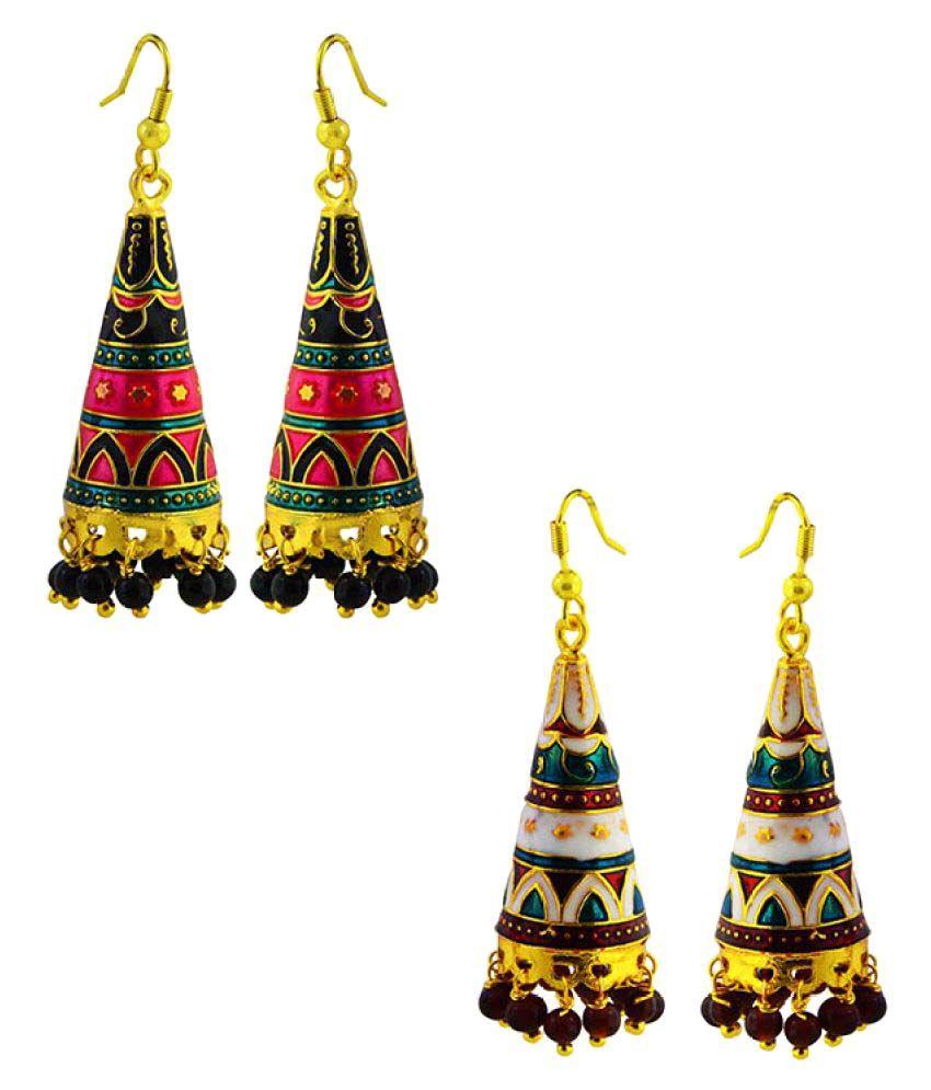 MK Jewellers Multicolor Brass Hanging Earrings - Pair of 2