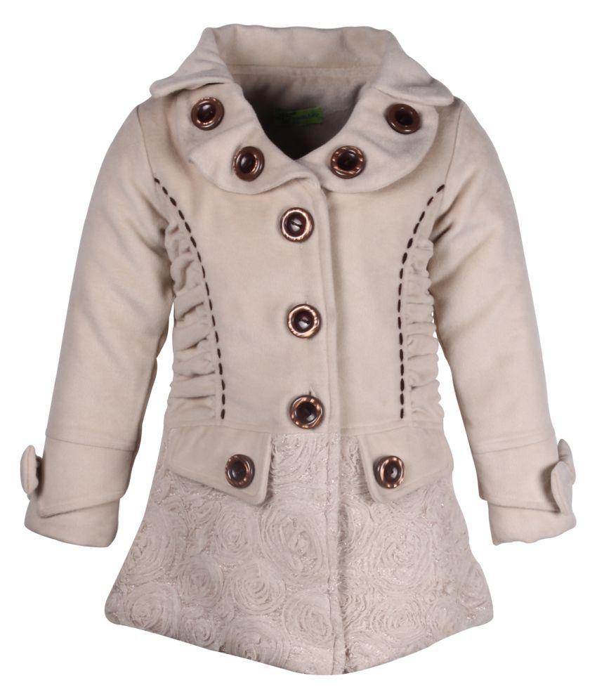 Cutecumber Beige Polyester Medium Coats for Girls