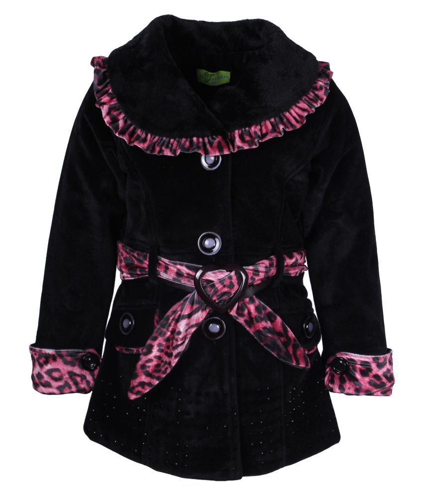 Cutecumber Black Polyester Winter Jacket