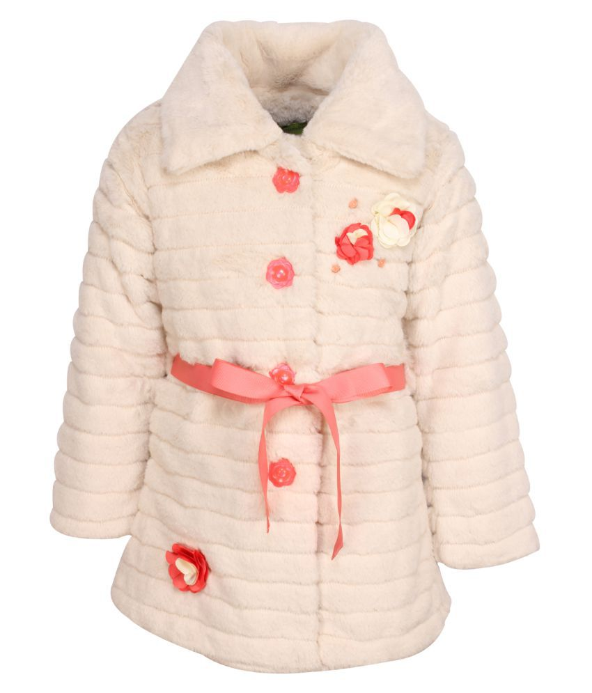 Cutecumber Cream Polyester Partywear Winter Girls Coat