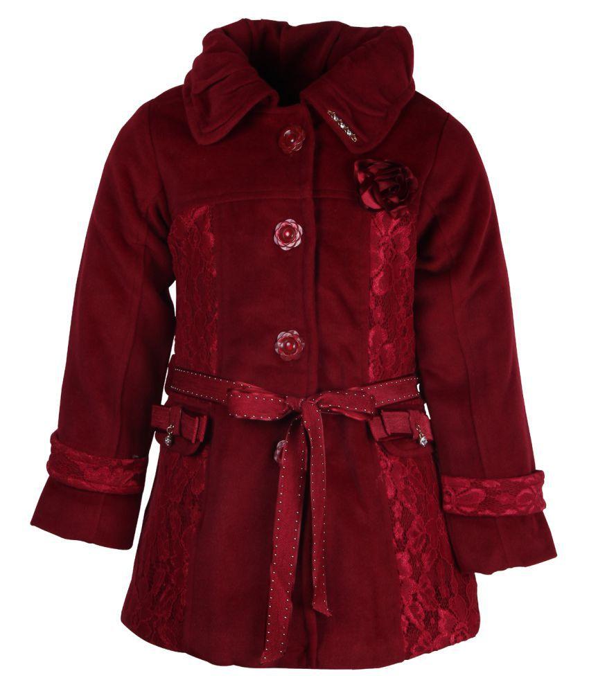Cutecumber Maroon Polyester Girls Jacket