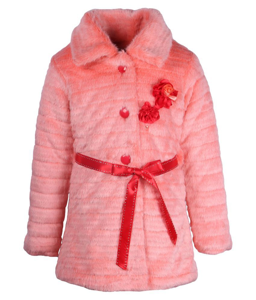 Cutecumber Orange Polyester Coat for Girls