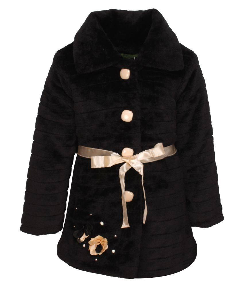 Cutecumber Partywear Winter Girls Black Coat
