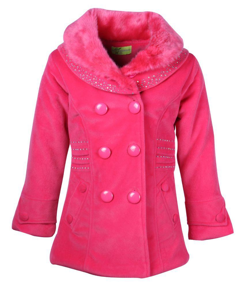 Cutecumber Pink Polyester Medium Coats for Girls