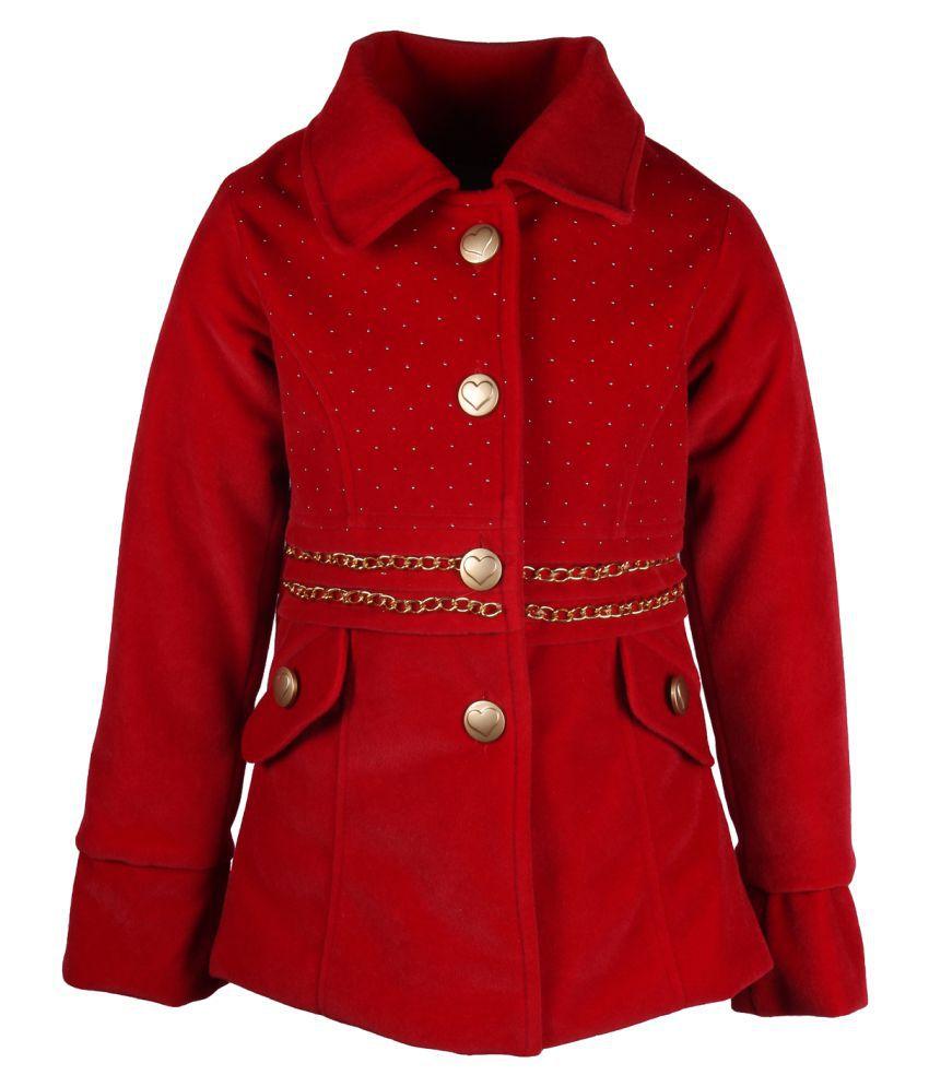 Cutecumber Red Polyester Medium Coats for Girls