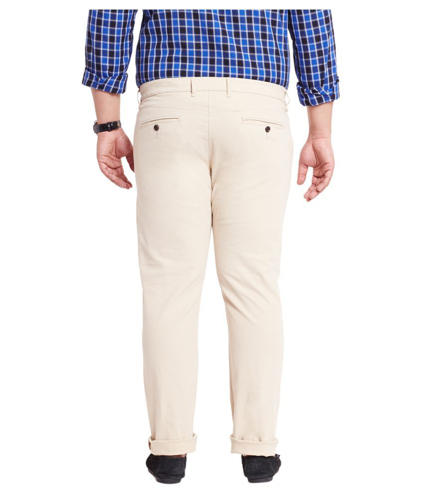 Mike & Smith Beige Regular Flat Trousers - Buy Mike & Smith