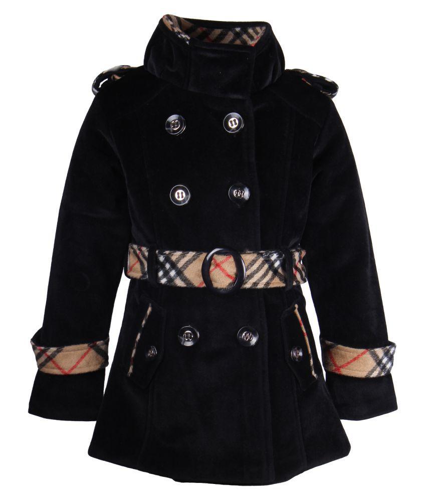 Cutecumber Black Knit Partywear Winter Girls Coat