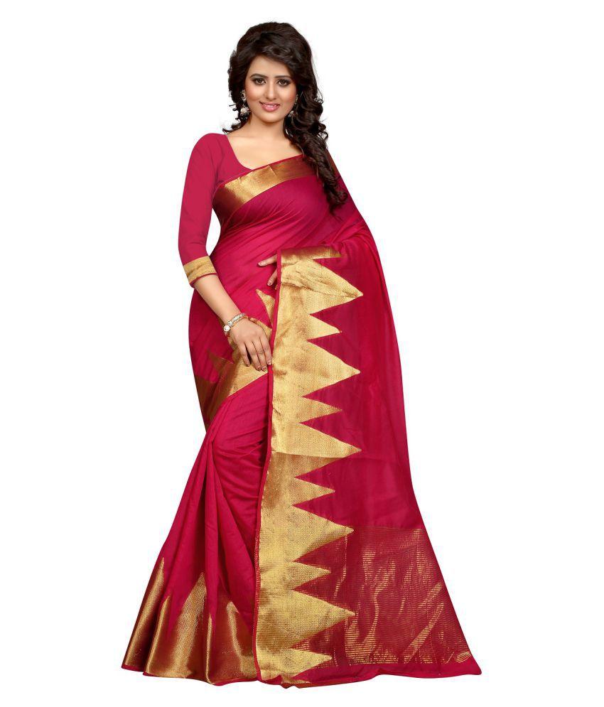 Indicolour Red Cotton Silk Saree