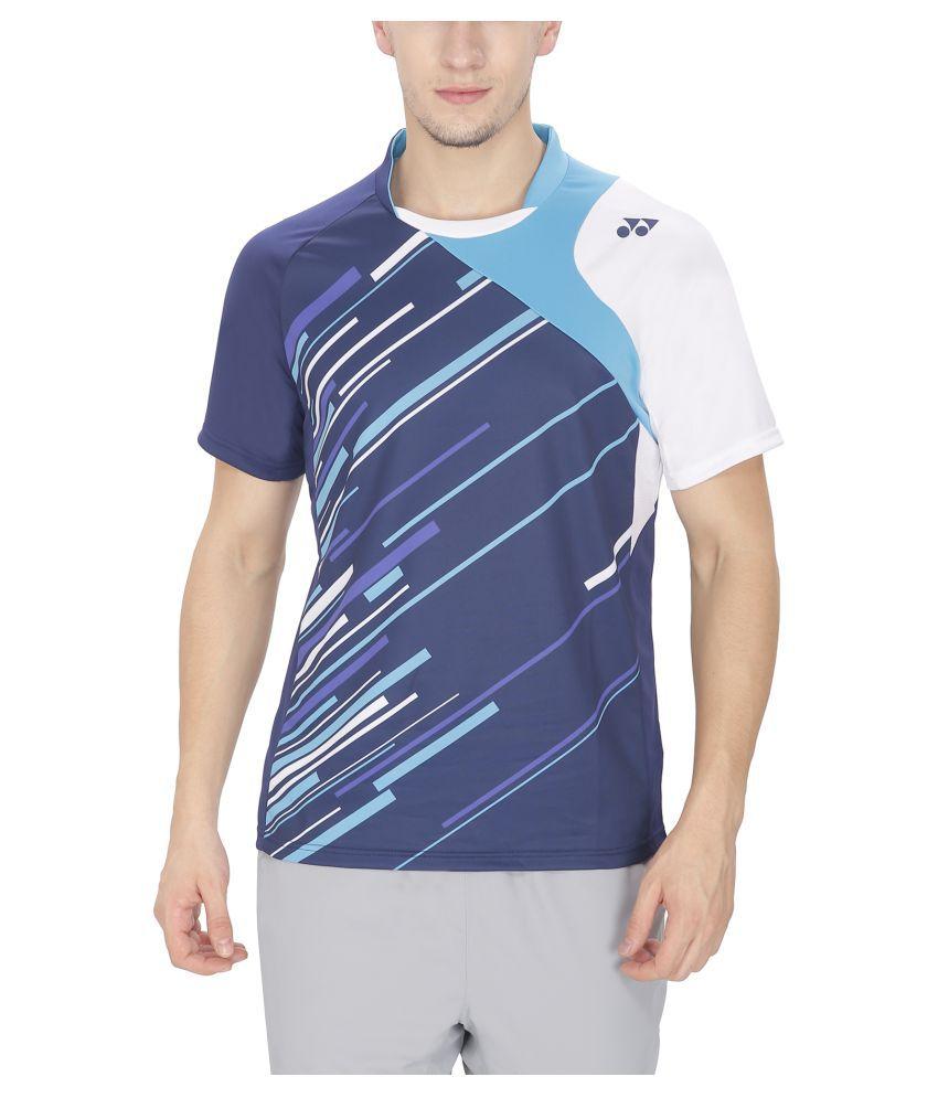 Yonex Badminton Mens Tshirt  Blue (Medium)