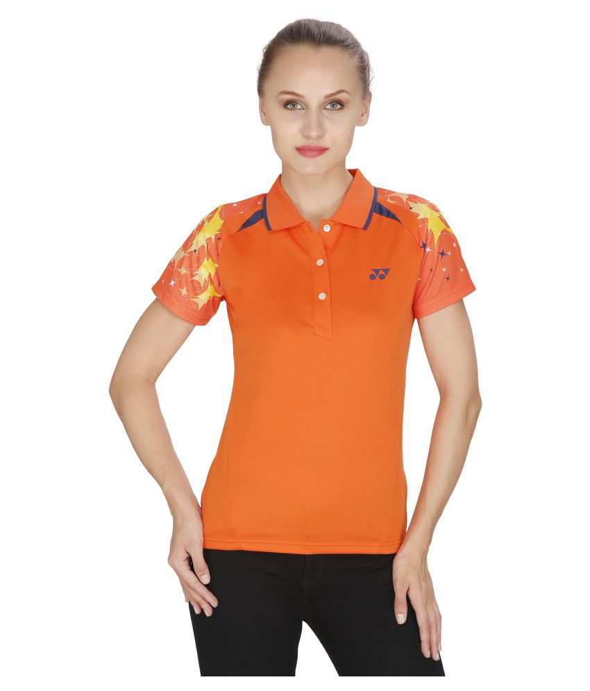 Yonex Orange Polyester Polo T-Shirt