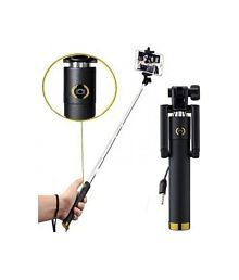 Pluto Plus Black Selfie Stick with Auxillary Cable - Assorted color